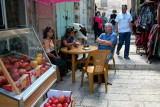 Jerusalem: Old City – Judy, Orna and Moshe - lunch at an Arab restaurant in the Muslim Quarter of the Old City.