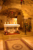Nazareth: The grotto in the lower church of the Basilica of the Annunciation. Gabriel's announcement to Mary occurred here.