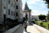 Nazareth: Judy - behind her is  the Basilica of the Annunciation. Gabriel's announcement to Mary occurred here.
