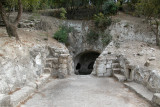 Bet She'arim: Entrance to the burial Cave of the Lone Sarcophagus, with a courtyard - in the necropolis.