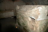 Bet She'arim: Sarcophagus with a carved pair of lions & other decorations - in the catacombs of the Cave of the Coffins.