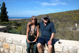 Judy and Richard in Ein Hod which is a communal settlement of artists and craftspeople. Mediterranean Sea is in the background.