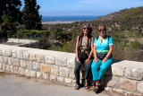 Judy and Orna in Ein Hod whcih is a communal settlement of artists and craftpeople. Mediterranean Sea is in the background.