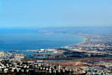 The port area of Haifa and the Mediterranean Sea from the Observation Tower at the University of Haifa