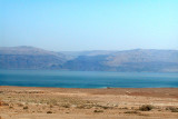 The Dead Sea as seen while traveling south to Masada  - mountains in Jordan are in the background.