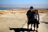 Judy and Richard on top of Masada with the Dead Sea and mountains in Jordan in the background.