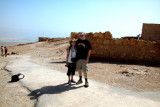 Judy and Moshe on top of Masada with the Dead Sea in the background.