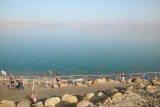 The public beach in Ein Gedi, next to the Dead Sea. Judy is the leftmost swimmer in the center, floating on her belly.