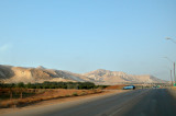 Approaching a military checkpoint before entering the West Bank. Another military checkpoint to enter Jordan is nearby