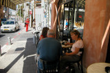 Judy, Orna and Moshe at an outdoor café in Neve Tzedek – the oldest section of Tel Aviv.