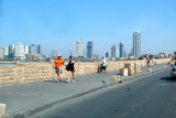 Tel Aviv's skyline seen from the promenade in Jaffa to the south, next to the Mediterranean Sea.