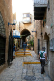 Orna on a passageway in the artist's section – part of the old section of Jaffa.