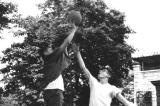 Richard (left) & Alan, a.k.a. Hooper, (right) - basketball in Bobby Larkin's driveway on Dorchester Road, Brooklyn. (late 50's)