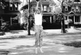 Ken, a.k.a., the Hoch,  playing basketball in Bobby Larkin's driveway on Dorchester Road, Brooklyn. (late 1950's)