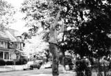 Richard playing basketball in Bobby Larkin's driveway on Dorchester Road, Brooklyn. (late 1950's)