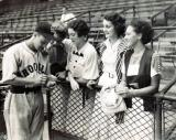 Hilda (Richard's mother), second from right, her friends & Lonny Frey (Brooklyn Dodgers infielder) at Ebbets Field (mid '30's)