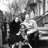 Aunt Thelma and uncle Morris (mother's brother) with Phyllis at grandparents' house on St. Marks Ave., Brooklyn (early 1940's)