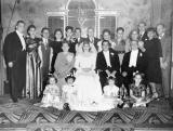 Wedding of Richard's aunt Clara and uncle Morris - mother's side. Hilda & Paul - 3rd & 4th from the left , back row (1946)