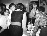 Family gathering at grandparents' house (Anna & Louis - mother's side). L. to R.: Harriet, Betty, Rosie & Richard (back)  (1951)