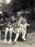 Left to right: Cousin Phyllis, grandma Anna and cousin Carole (mother's side) at Pine Bush, New York (1950)