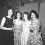 Cousins Phyllis, Susan & Carole (mother's side) & Marilyn Pessin (Phyllis' cousin) at Phyllis' sweet 16 birthday party (1954)