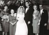 Wedding of Alan & Ruth (father's side). L. to R.: cousin Judie, grandma Gussie, Ruth, Alan, aunt Adelle & uncle Harry (1959)