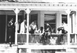Scene at the fraternity house on Kenilworth Place (Brooklyn College) (1962). Guys in suits - must have been something special.