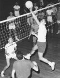 Richard playing intramural volleyball at Brooklyn College. Sam is to the left of Richard. (1963)