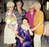 Left to right, Richard's aunts: Lilly, Clara, Betty, Rosie. Richard's mother Hilda in front (1990's)