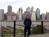 Richard on the Brooklyn Heights Promenade with part of the Manhattan skyline in the background