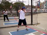 Seth at a baseball batting cage at Coney Island, Brooklyn. He has a great swing!