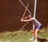 Richard hamming it up for the camera while introducing Brooklyn-style stickball to some midwest friends (Kent, OH -  early 70's)