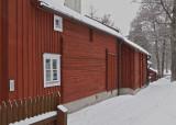 Old wood buildings.