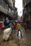 Mending the Road in the Rain Kathmandu