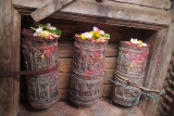 Wooden Prayer Wheels with Offerings