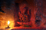 Ganesha Shrine whit Candle at Boudha Stupa