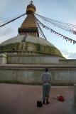 Man Praying at Boudha Stupa