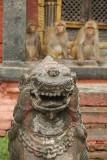 Stone Fu with Monkeys Behind Pashupatinath