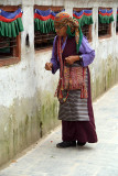 Tibetan Lady and Prayer Wheels