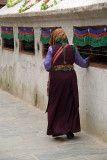 Tibetan Lady and Prayer Wheels 02