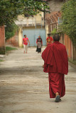 Walking Monk in Boudha