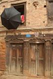 Black Umbrella and Buildings Bhaktapur