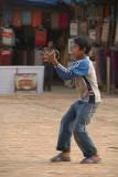 Boy Flying Kite in Durbar Square Bhaktapur 04
