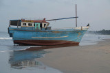Beached Blue Boat at Upavelli