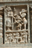 Carved Stone Panel of God and Devotees Belur