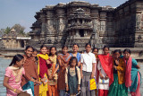Visiting Girls in Temple Courtyard Belur