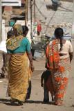 Women in Saris Walking Bijapur