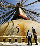 Painting of the Great Stupa.  This is usually carried out in Tibetan New Year and important Buhdism holy days.
