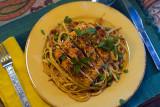 Broiled Salmon with Sweet Pea, Sun-Dried Tomato, and Lemon Spaghetti