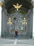 My wife at one of the gates to the Hermitage Museeum